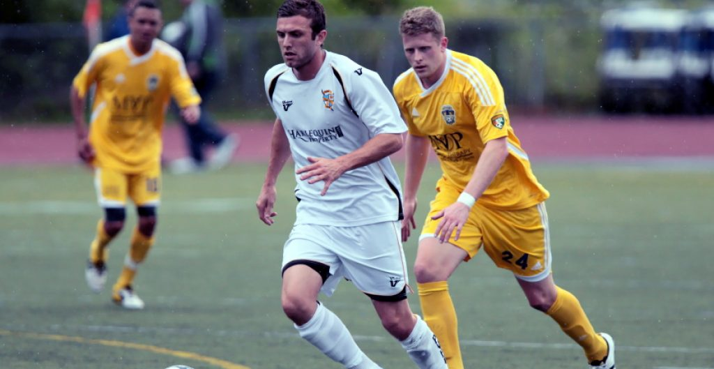 Photo of Doug Loft of Port Vale from the 2011 Tacoma Tide friendly versus the Port Vale Valiants at Curtis High School in University Place Washington.