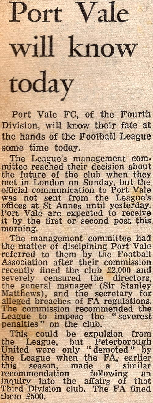 Port Vale will know today - press clipping