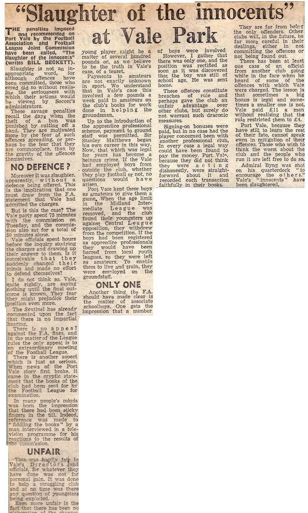 Slaughter of the innocents - press clipping