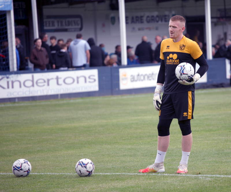 Port Vale goalkeeper Aidan Stone in action at Kidsgrove