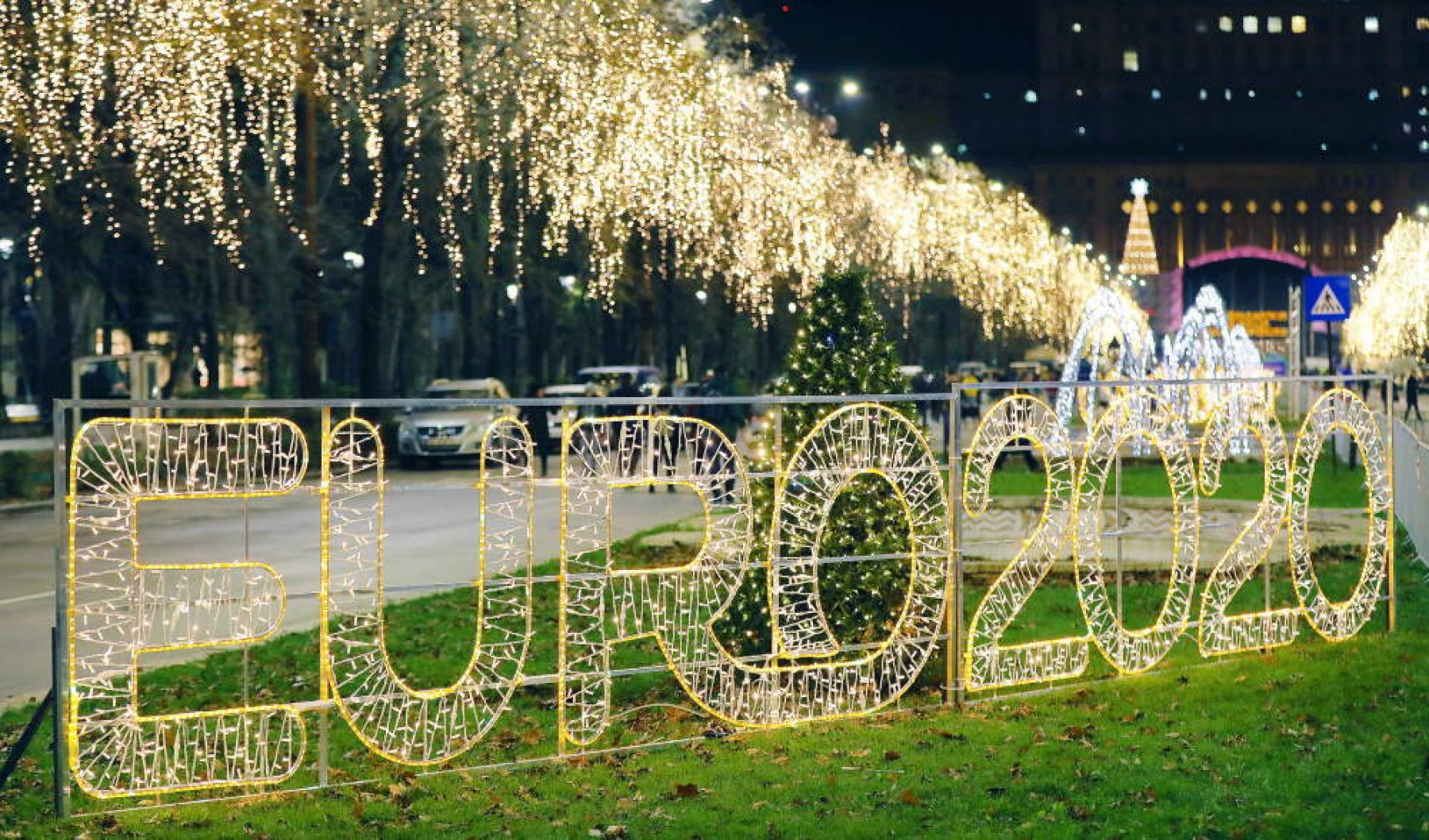 """Euro 2020 Prediction League - """"Euro 2020 Football Championship street lights at Bucharest Christmas market"""" by wuestenigel is licensed under CC BY 2.0"""