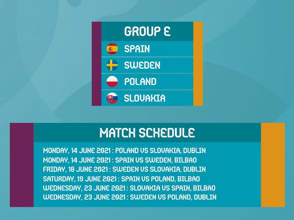 Euro 2020 Group E fixtures