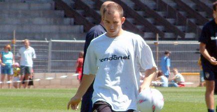Port Vale midfielder Marc Bridge-Wilkinson in training in 2003