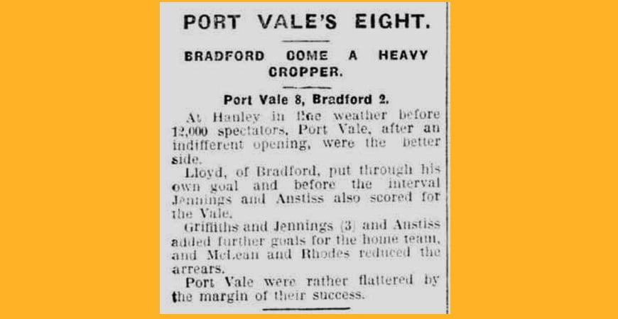 Port Vale 8-2 Bradford Park Avenue - clipping