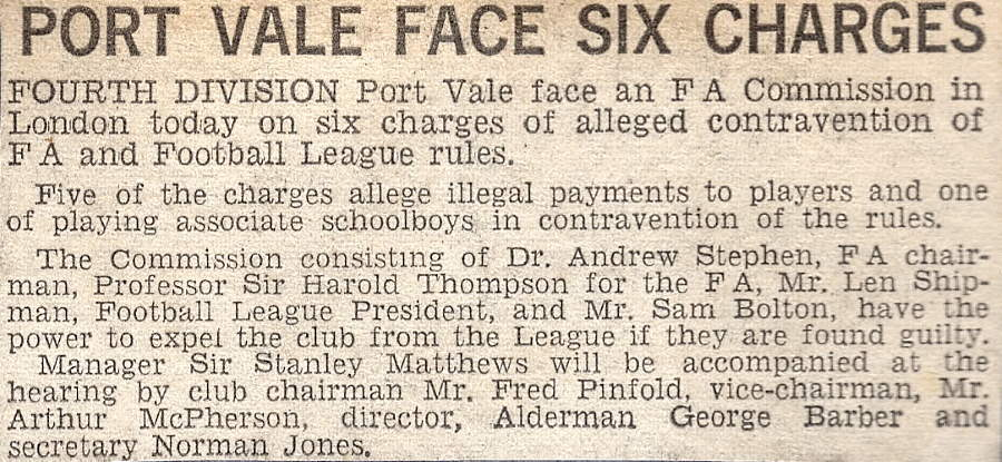 Port Vale face six charges - press clipping