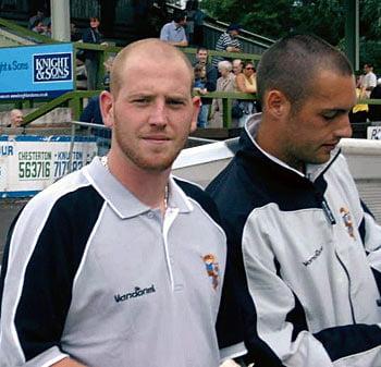Port Vale striker Steve Brooker and goalkeeper Mark Goodlad
