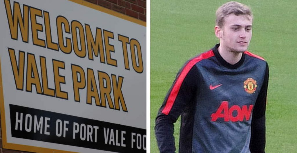 """Composite image - Port Vale sign and (RH side) """"File:James Wilson of MUFC.jpg"""" by Egghead06 is licensed under CC BY-SA 4.0"""