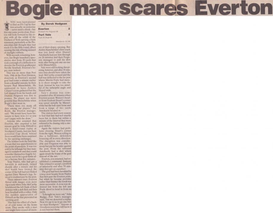 Everton 2-2 Port Vale press clipping: Bogie man scares Everton