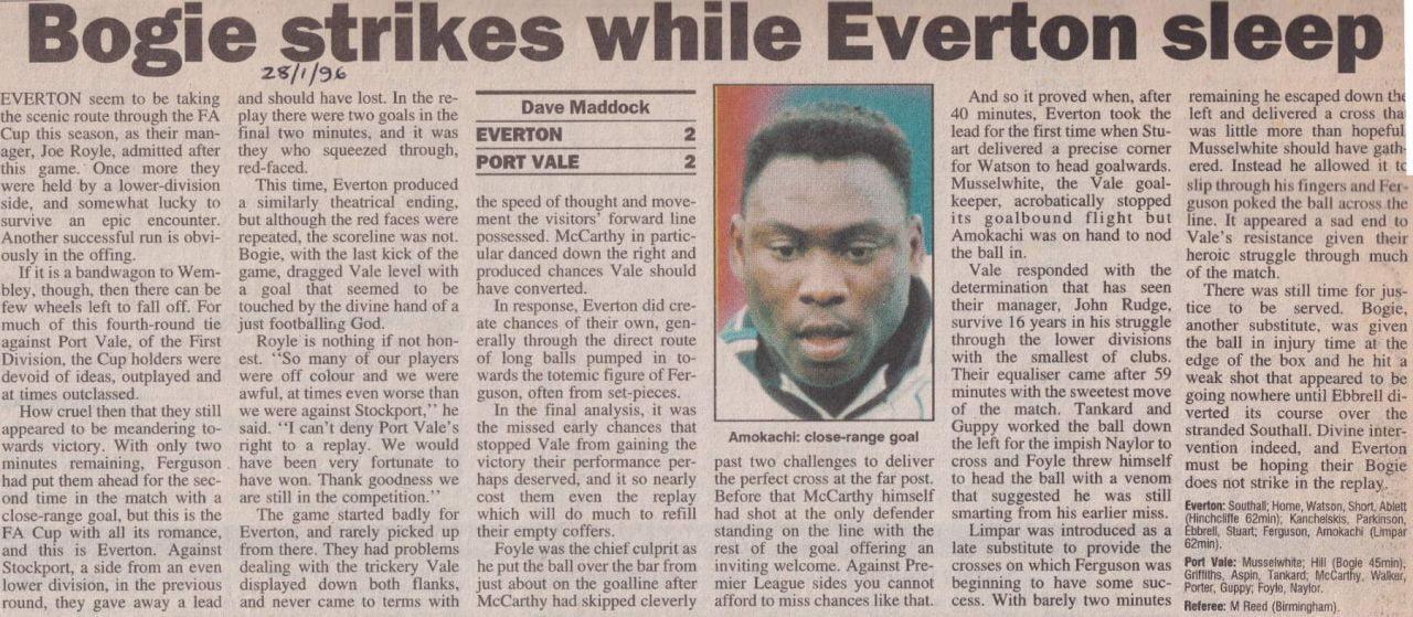 Everton 2-2 Port Vale press clipping: Bogie strikes while Everton sleep