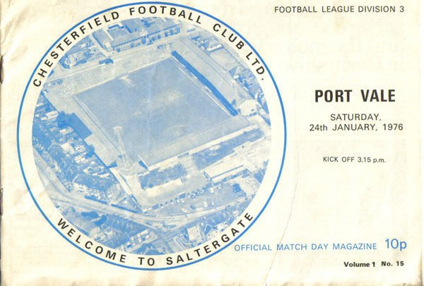 Chesterfield v Port Vale matchday programme, 1976