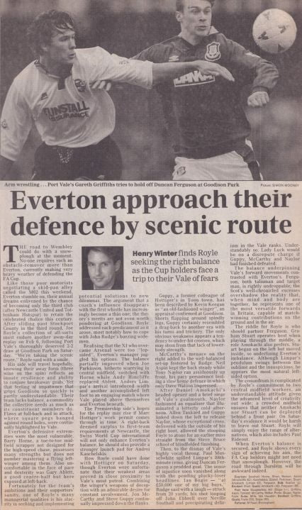 Everton 2-2 Port Vale press clipping: Everton approach their defence by scenic route