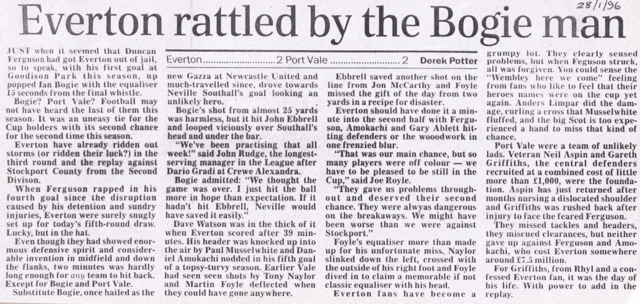 Everton 2-2 Port Vale press clipping: Everton rattled by the Bogie man
