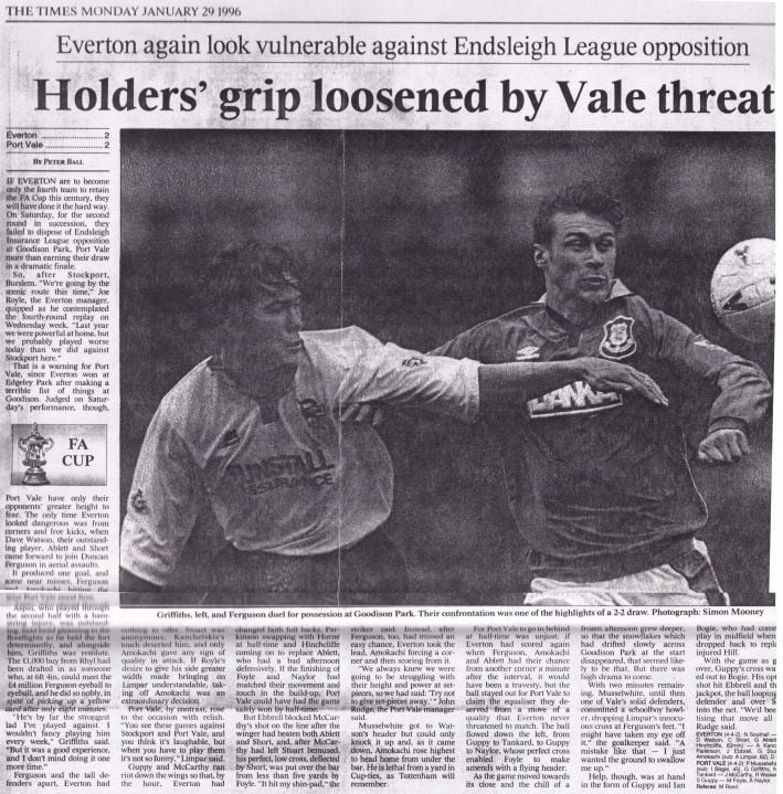 Everton 2-2 Port Vale press clipping: Holder's Grip Loosened by Vale threat