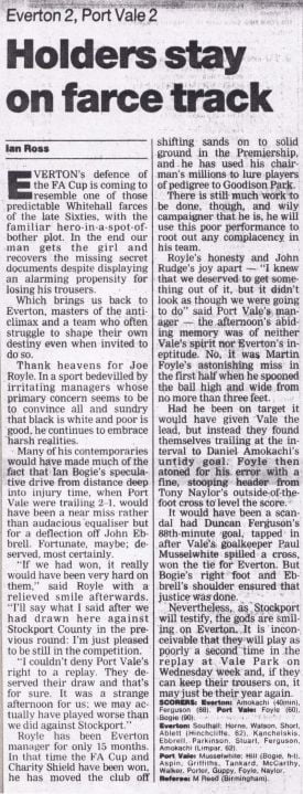 Everton 2-2 Port Vale press clipping: Holders stay on farce track
