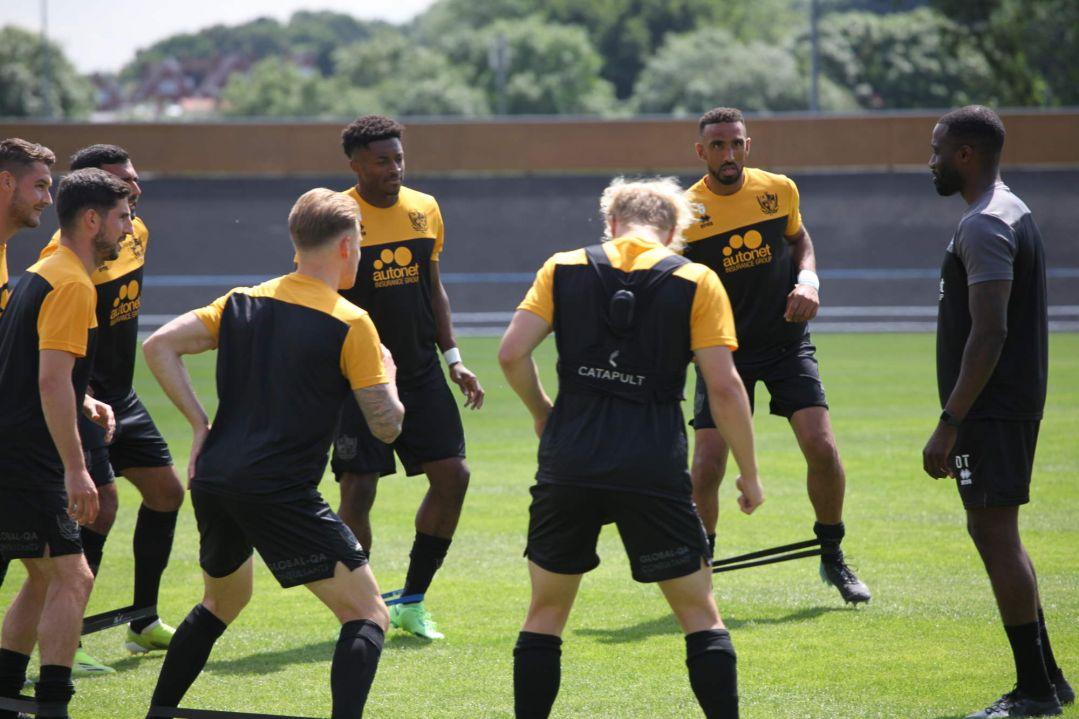 Port Vale players warm up - Newcastle Town v Port Vale friendly, 2021 - AS Photos