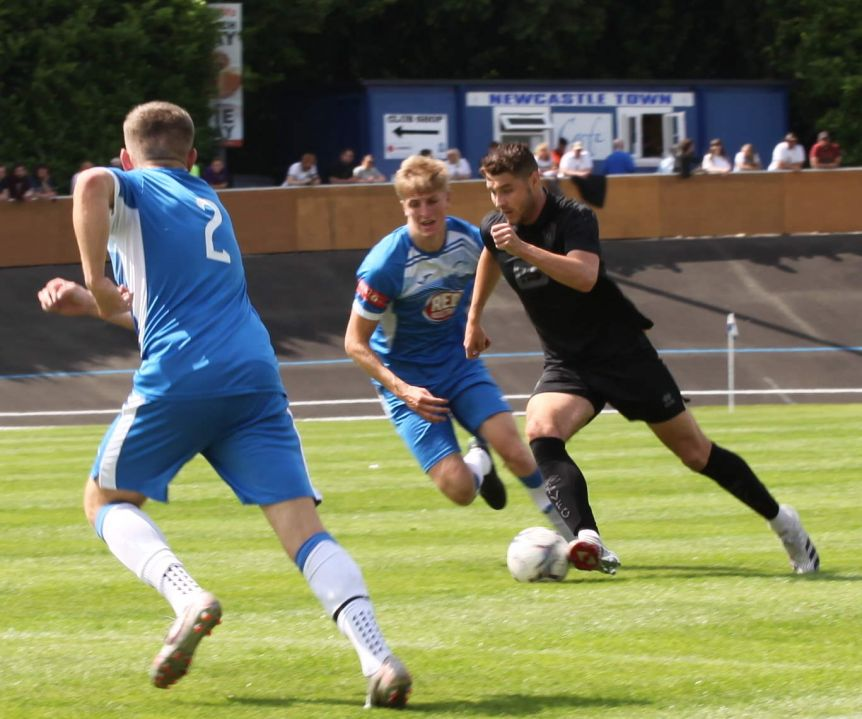 Brad Walker on the ball - Newcastle Town v Port Vale friendly, 2021 - AS Photos