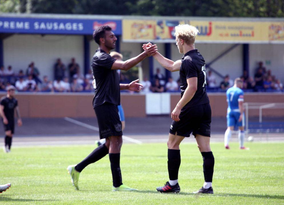 Mal Benning congratulates scorer Eden Bailey - Newcastle Town v Port Vale friendly, 2021 - AS Photos