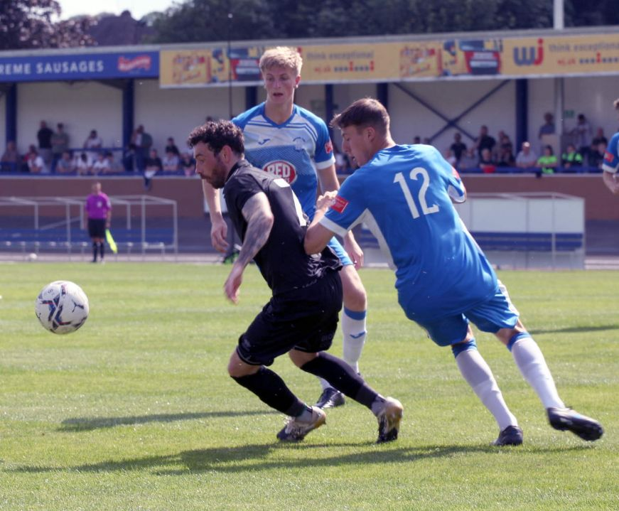 David Worrall is well marked - Newcastle Town v Port Vale friendly, 2021 - AS Photos