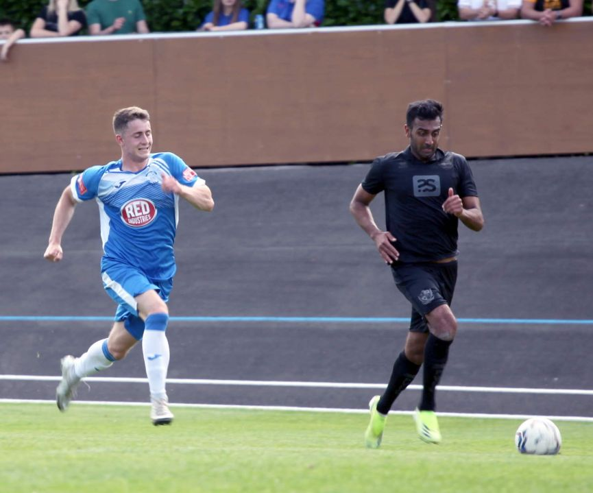 Mal Benning on the ball - Newcastle Town v Port Vale friendly, 2021 - AS Photos