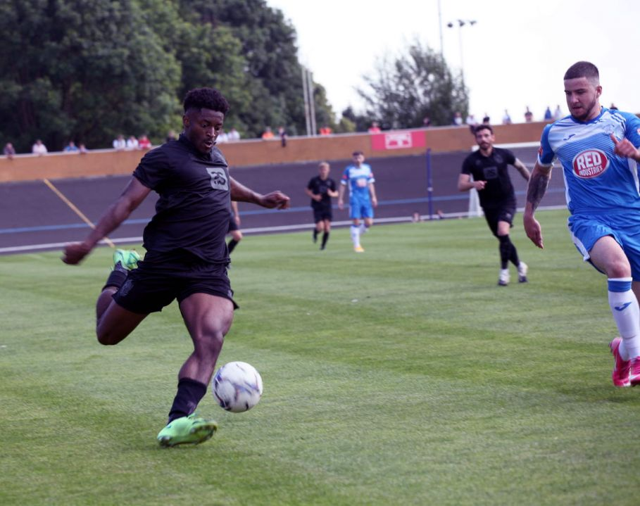 Devante Rodney on the ball - Newcastle Town v Port Vale friendly, 2021 - AS Photos