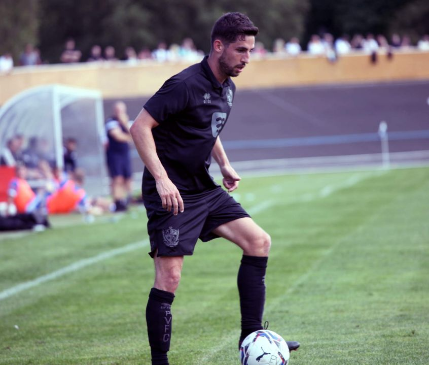 Tom Pett on the ball - Newcastle Town v Port Vale friendly, 2021 - AS Photos