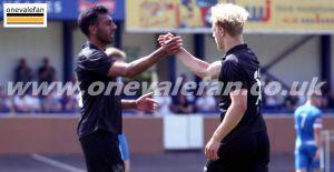 Mal Benning congratulates Eden Bailey - Newcastle Town v Port Vale, 2021 - AS Photos