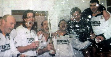 Port Vale celebrations after the FA Cup win over Everton 1996 - image Port Vale match programme