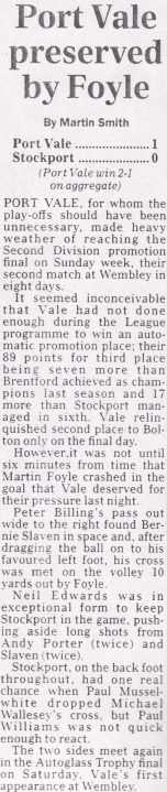 Press clipping: Port Vale 1-0 Stockport County, play-off semi-final second leg 1993