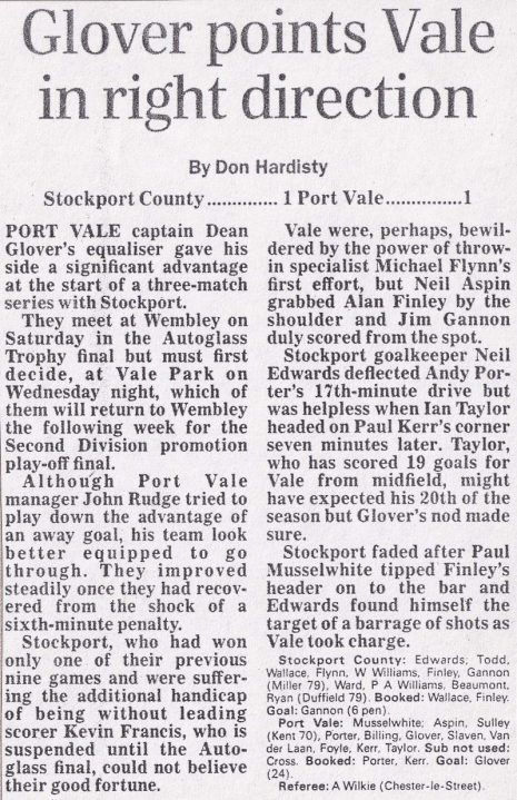 Press clipping: Stockport County 1-1 Port Vale, play-off semi-final first leg 1993