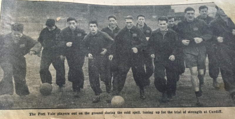 Port Vale players training ahead of the 1954 FA Cup tie with Cardiff City