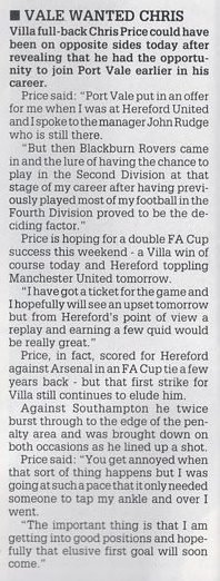 Press clipping - Chris Price on rejecting Port Vale