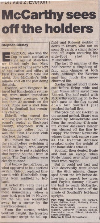 Press clipping - Port Vale 2-1 Everton, FA Cup replay 1996