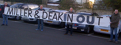 Port Vale fans protest against Perry Deakin and Peter Miller