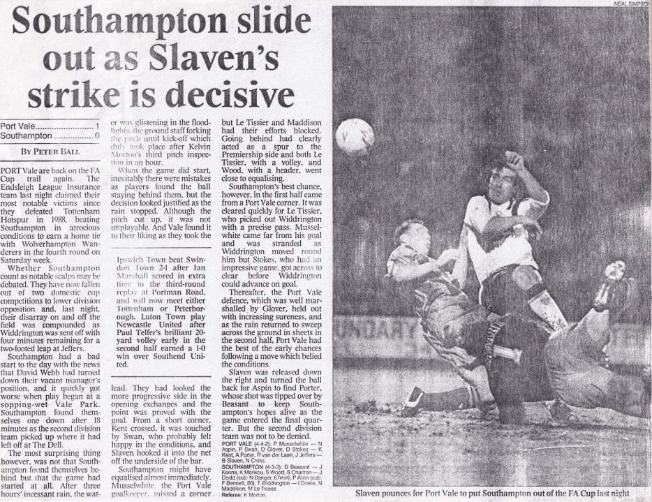 Press clipping - Port Vale 1-0 Southampton, FA Cup replay 1994