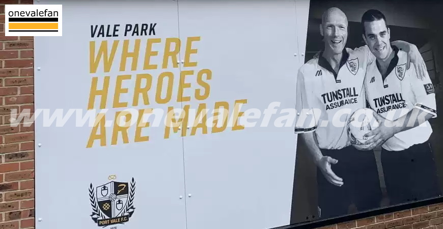 Signage at the Vale Park stadium