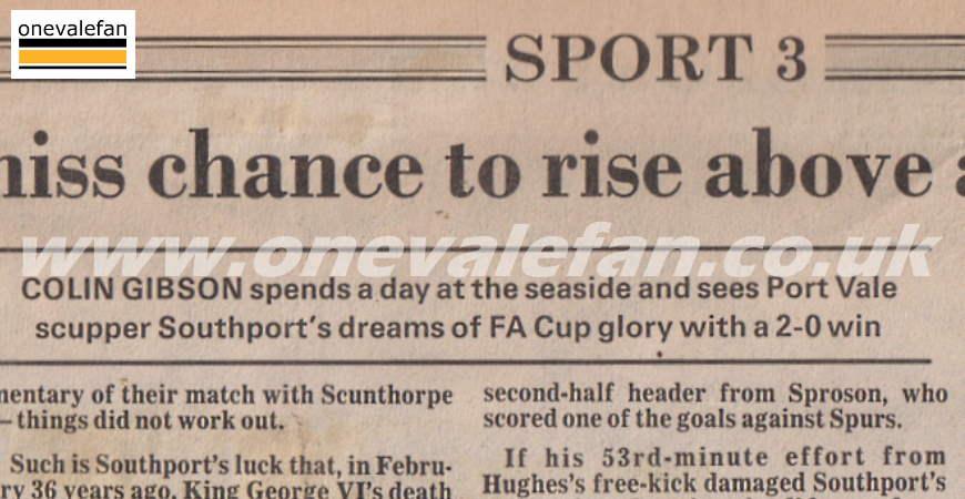 Southport 0-2 Port Vale 1988