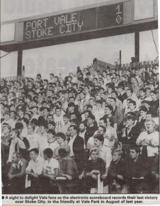 Port Vale fans celebrate a friendly win over Stoke City in 1988