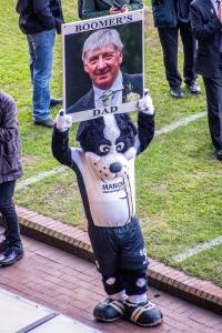 Boomer pays an emotional tribute to his late father during the game against Grimsby Town.