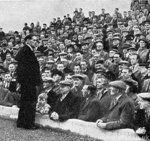 The chairman addresses the fans ahead of the opening of the Vale Park stadium