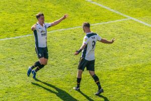 Luke Hannant and Tom Pope celebrate