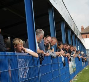 Port Vale fans at Harrison Park for Port Vale's friendly game with Leek Town