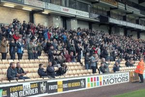 Port Vale fans at Vale Park stadium for the friendly game against Fleetwood