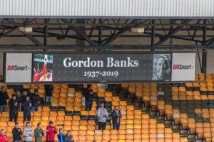 A tribute to Gordon Banks on the scoreboard