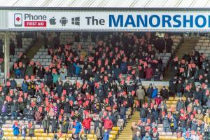 The red card protest during the game against Mansfield Town.