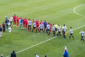 Port Vale and Swindon Town teams run out