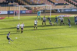 Vale defend a Bury free-kick