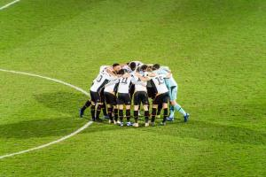 Port Vale 3-0 Yeovil: players in a huddle