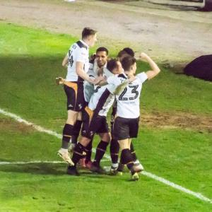 Port Vale 3-0 Yeovil: scorer of the third goal, Cristian Montano, is congratulated