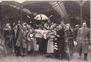 Port Vale fans on the way to an FA Cup tie with Fulham