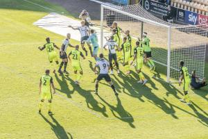 However, i the dying moments, Nathan Smith managed to head the ball back across the goalline...